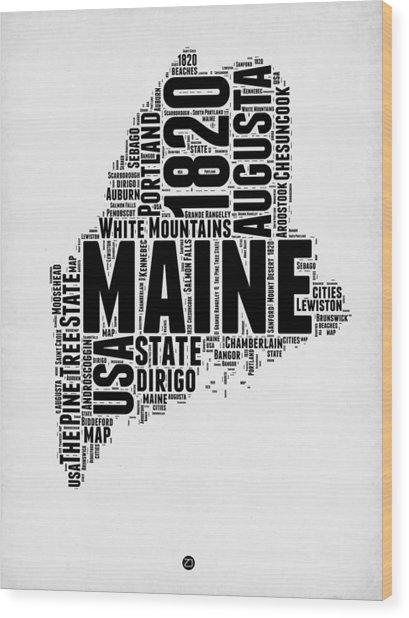 Maine Word Cloud 2 Wood Print