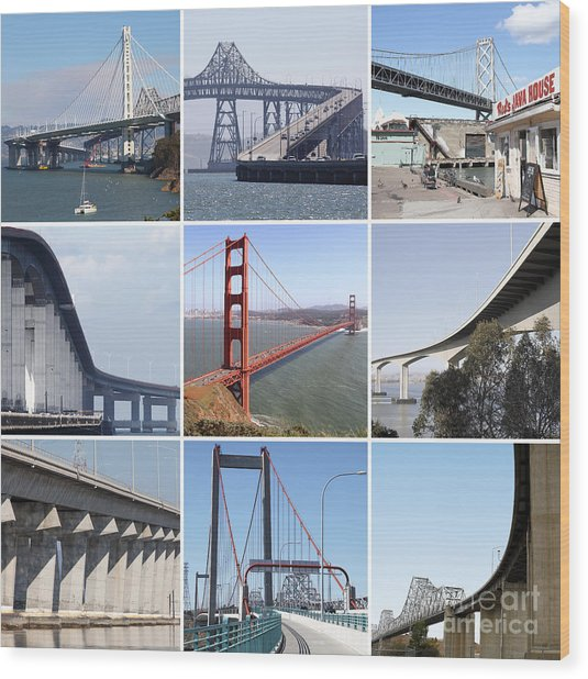 Majestic Bridges Of The San Francisco Bay Area 20150102 Wood Print