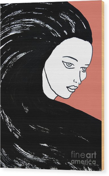 Majestic Lady J0715d Calypso Coral 17-1744 Ee5c6c  De7766 Wood Print