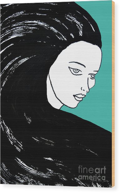 Wood Print featuring the painting Majestic Lady J0715k Turquoise Green Pastel Painting 15-5519 41b6ab by Mas Art Studio