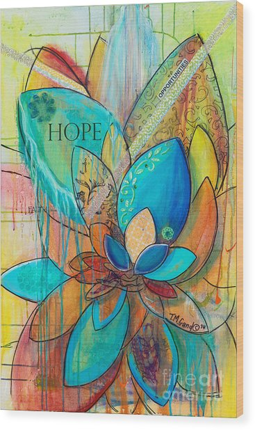 Spirit Lotus With Hope Wood Print