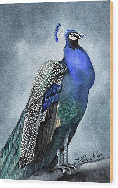 Majestic Peacock Wood Print