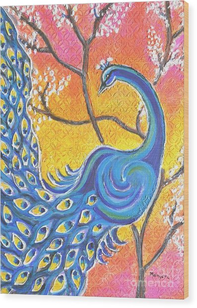 Majestic Peacock Colorful Textured Art Wood Print