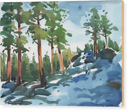 Majestic Pines In The Snow Wood Print