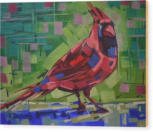 Majestic Red Bird Wood Print
