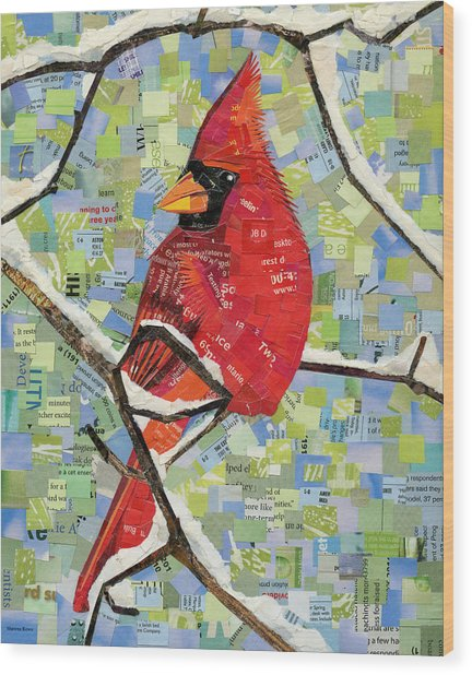 Majestic Red Cardinal  Wood Print