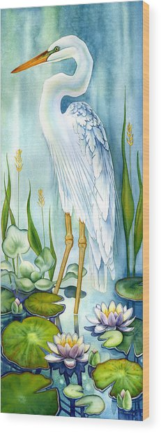 Majestic White Heron Wood Print