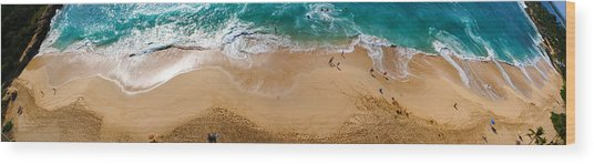 Makaha Beach Panorama Wood Print
