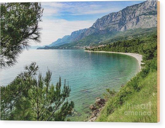 Makarska Riviera White Stone Beach, Dalmatian Coast, Croatia Wood Print