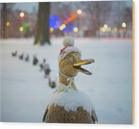 Make Way For Ducklings Winter Hats Boston Public Garden Christmas Wood Print