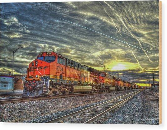Make Way Resting B N S F Train Gallup New Mexico Art Wood Print