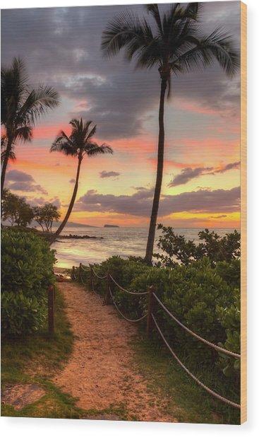 Makena Sunset Path Wood Print
