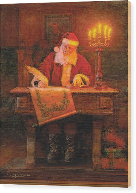 Wood Print featuring the painting Making A List by Greg Olsen