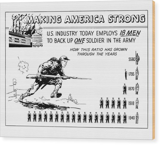Making America Strong Cartoon Wood Print