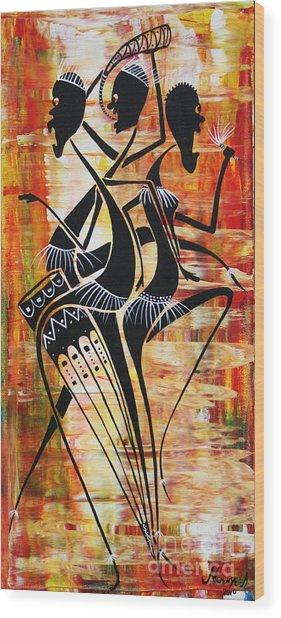 Makonde And Mask 5 Wood Print by Abu Artist