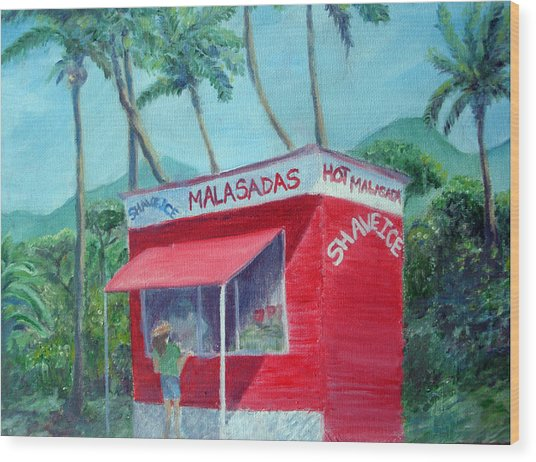 Malasada Stand Wood Print by Mike Segura