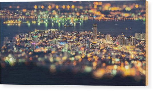Malaysia Penang Hill At Night Wood Print