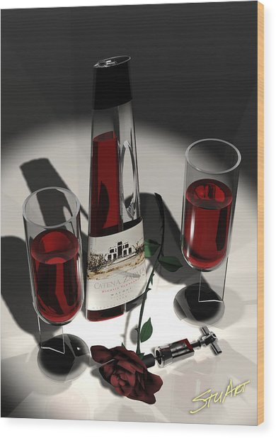 Malbec Wine - Romance Expectations Wood Print