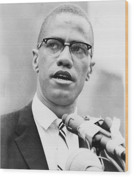 Malcolm X 1925-1965, Forceful African Wood Print by Everett