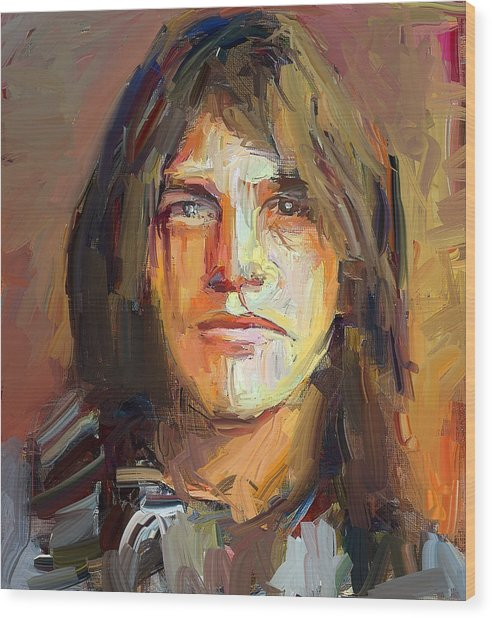 Malcolm Young Acdc Tribute Portrait Wood Print