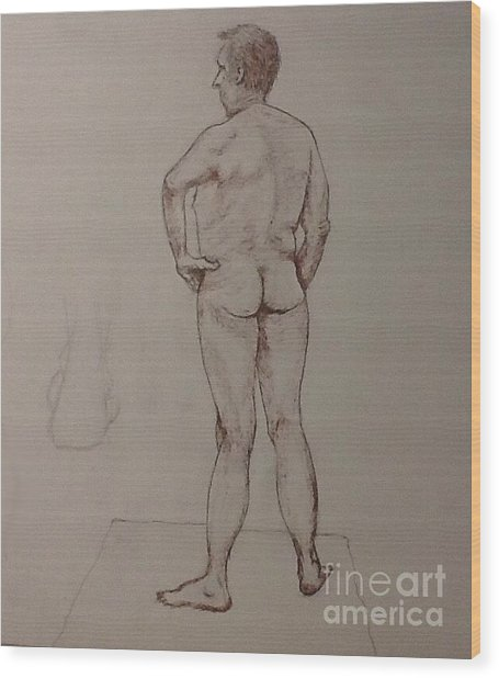 Male Life Drawing Wood Print