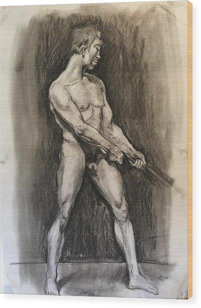 Male Nud Wood Print by Alejandro Lopez-Tasso