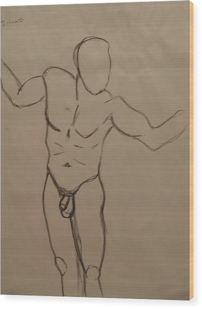 Male Nude Drawing 2 Wood Print