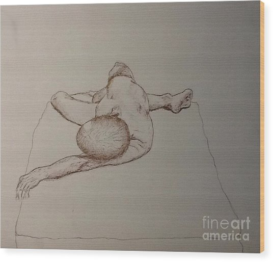 Male Nude Life Drawing Wood Print