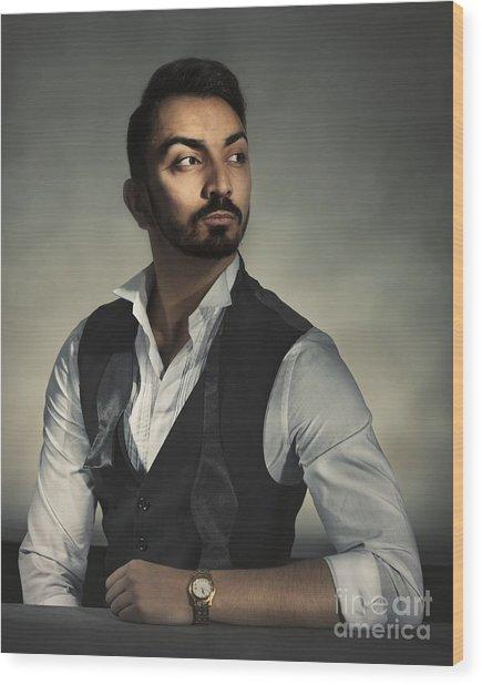 Male Portrait Wood Print