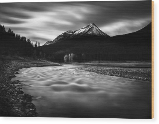 Maligne River Autumn Wood Print