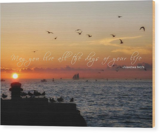 Mallory Square Sunset Quote Wood Print by JAMART Photography