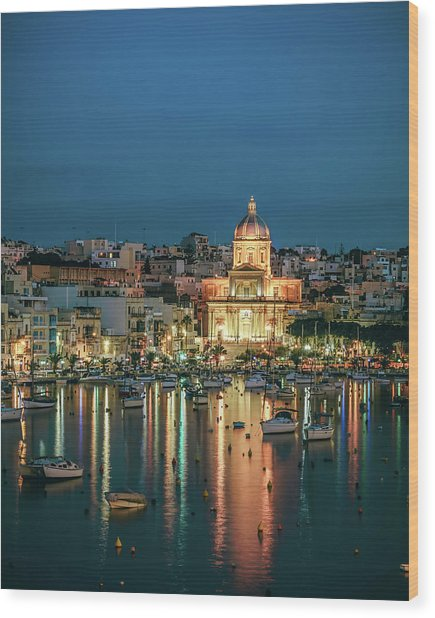 Malta Blue 6 Wood Print