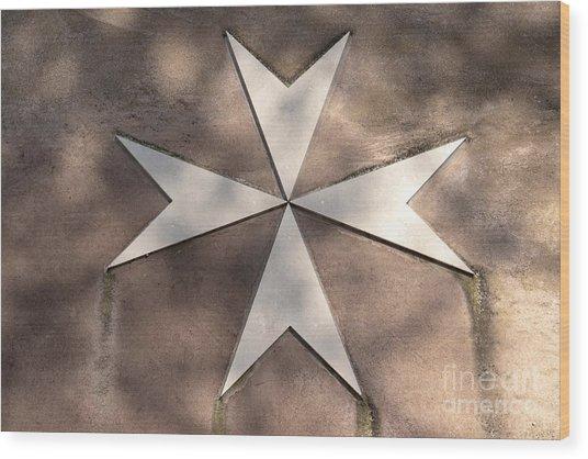 Maltese Cross In Travertine Wood Print
