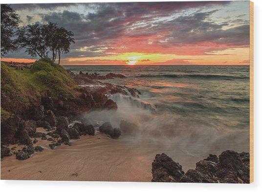 Maluaka Beach Sunset Wood Print