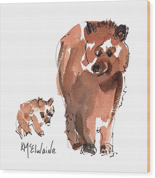 Mama And Baby Series Bear Wood Print