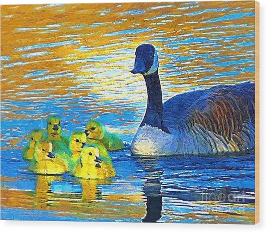 Mama And Her Goslings Wood Print by Deborah MacQuarrie-Selib