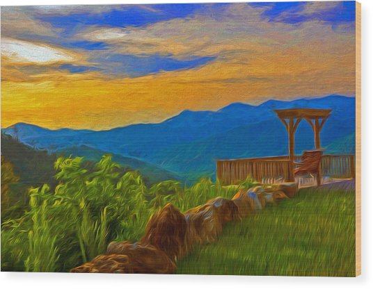 Blue Ridge Sunset From Mama Gertie's Hideaway Wood Print