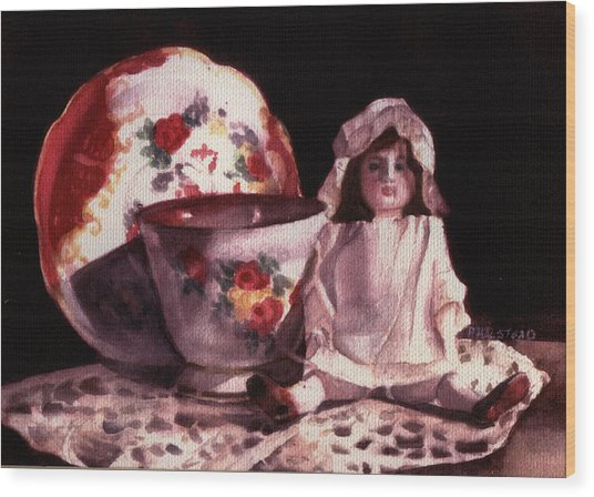Mama's Doll Wood Print by Patricia Halstead