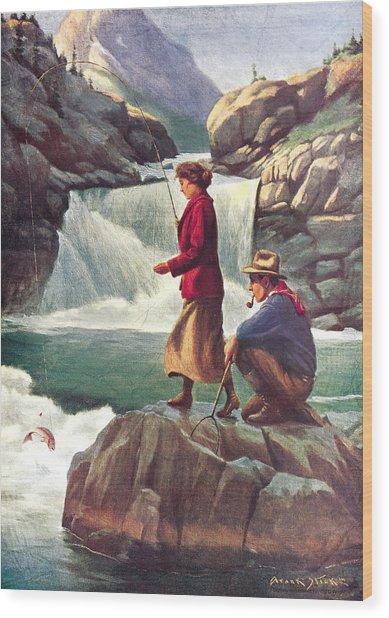 Man And Woman Fishing Wood Print