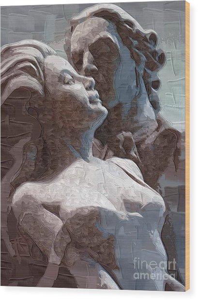 Man And Woman In Love Wood Print by Deborah Selib-Haig DMacq