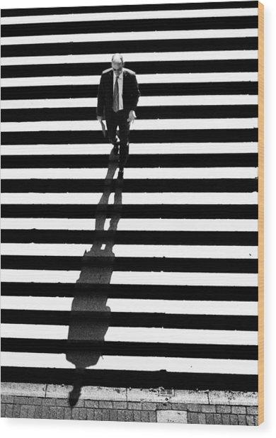 Man Bethesda Steps Wood Print