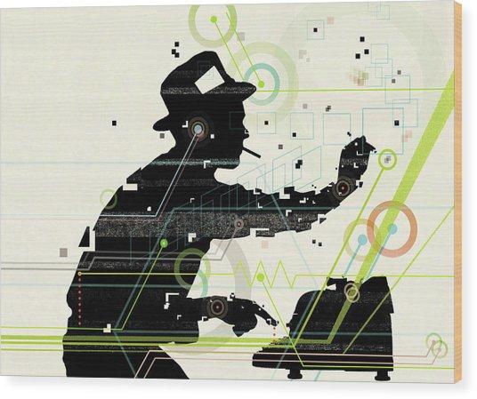 Man Creating Music From Typewriter Wood Print