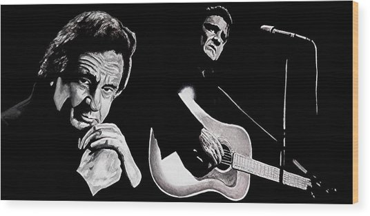 Man In Black Wood Print by Al  Molina