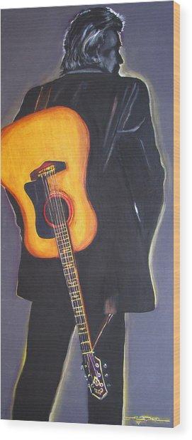 Man In Black's Back Wood Print