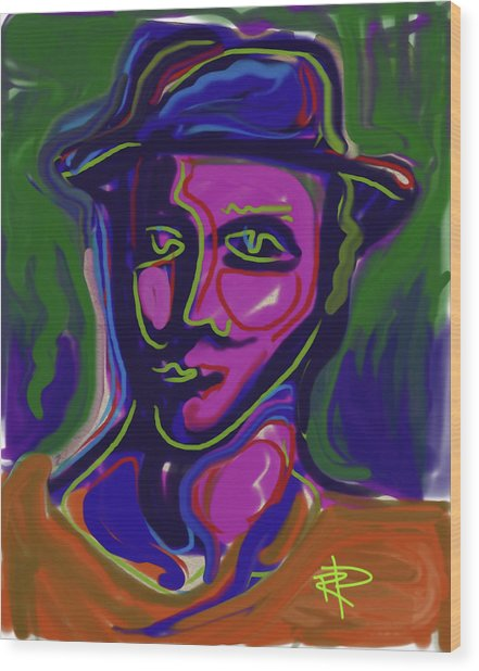 Man In Blue Hat Wood Print by Russell Pierce