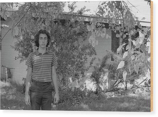 Man In Front Of Cinder-block Home, 1973 Wood Print