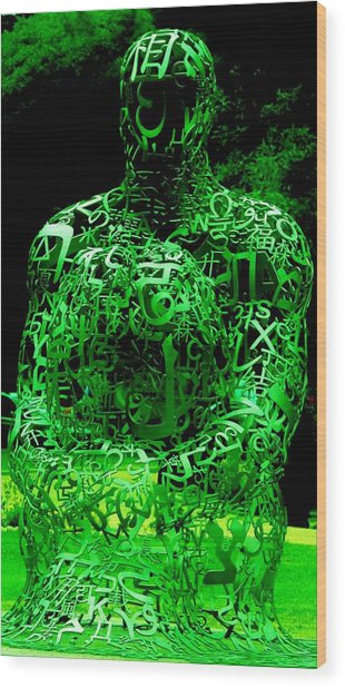 Man In Green Wood Print