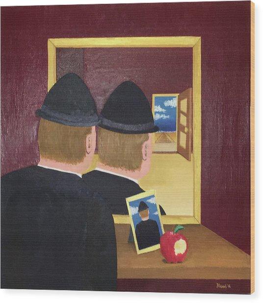 Man In The Mirror Wood Print