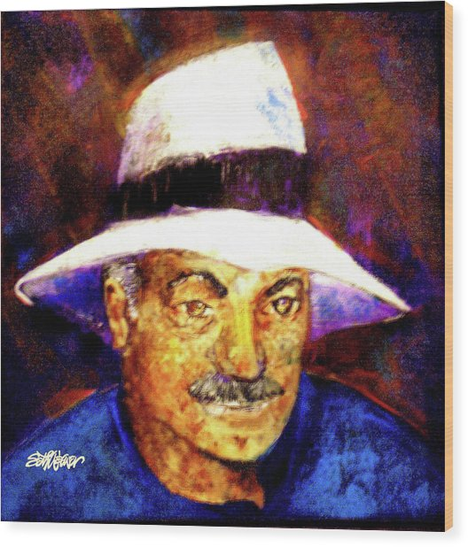 Man In The Panama Hat Wood Print