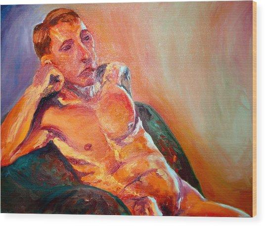 Man Nude Wood Print by Britta Loucas